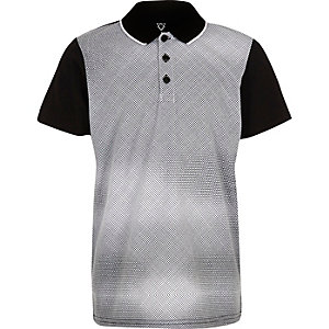 Boys black geometric print polo shirt