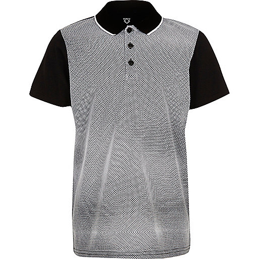 Boys black geometric print polo shirt
