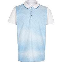 Boys blue geometric print polo shirt