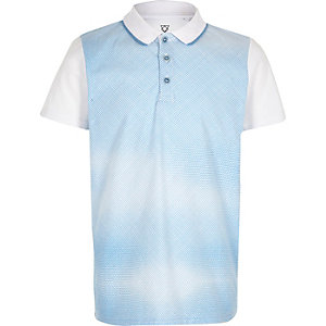 Boys blue geometric print polo shirt