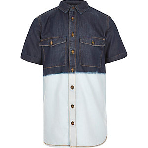 Boys blue dip dye denim shirt
