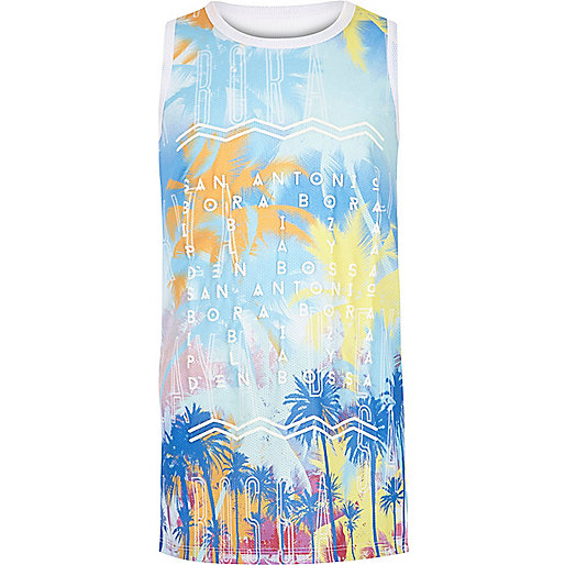 Blaues Trägertop mit Ibiza-Print