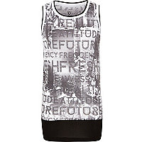 Boys white print vest