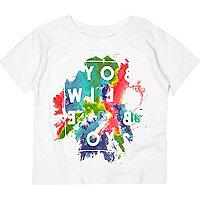 Mini boys white paint splash print t-shirt