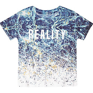 Mini boys blue digital print t-shirt
