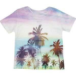 Mini boys turquoise palm print t-shirt