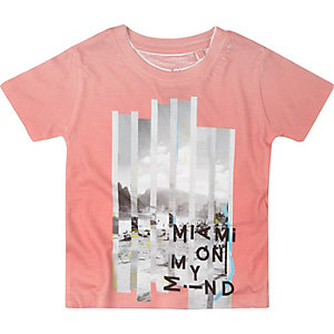 Mini boys pink print t-shirt