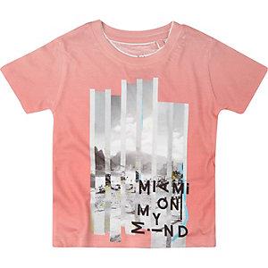 Mini boys pink print t-shirt