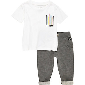 Mini boys white print t-shirt