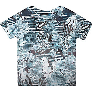 Mini boys turquoise palm print t-shirt
