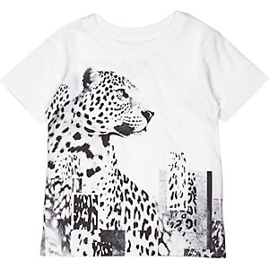 Mini boys white leopard print t-shirt