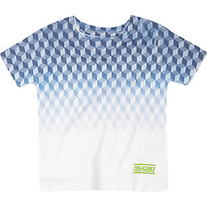 Mini boys blue geometric print t-shirt