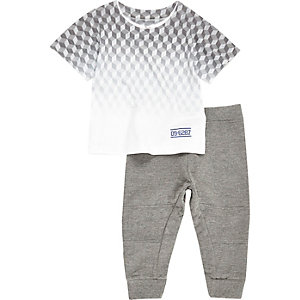 Mini boys grey geometric print t-shirt