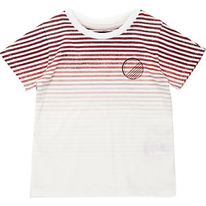 Mini boys red faded stripe t-shirt