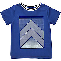 Mini boys blue mesh print t-shirt