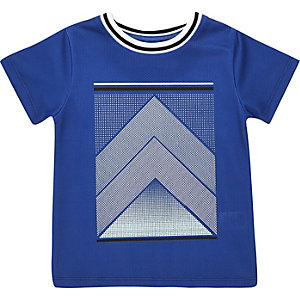 Mini boys blue mesh print t-shirt