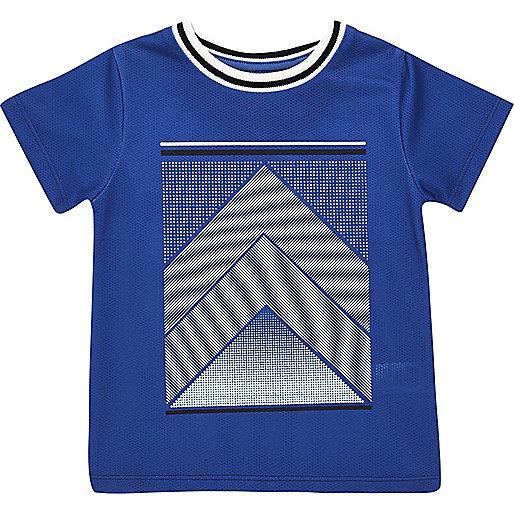 T-shirt imprimé en tulle bleu mini garçon