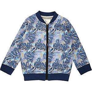 Mini boys blue floral print bomber jacket
