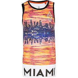 Boys white Miami print mesh tank