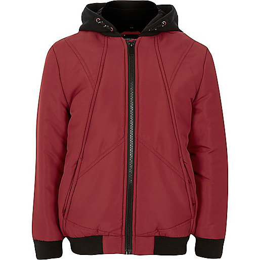 Boys red padded bomber jacket with hood