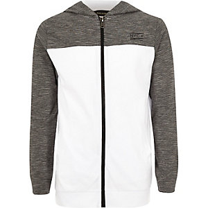Boys grey color block hoodie