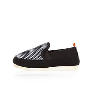 Mini boys black dotted mesh slip on sneakers