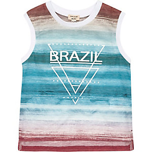Mini boys white Brazil print tank