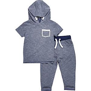 Ensemble pantalon de jogging et sweat à capuche bleu pour mini garçon