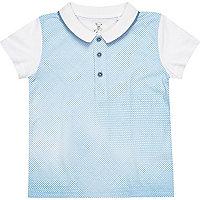 Mini boys blue dotted polo shirt
