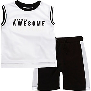 Mini boys white tank and shorts outfit