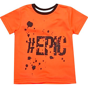 Mini boys orange print t-shirt
