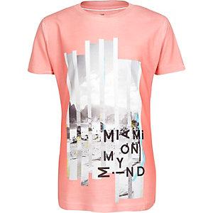 Boys orange Miami print t-shirt