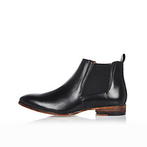 Boys black leather Chelsea boots