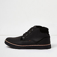 Boys black textured demi boots