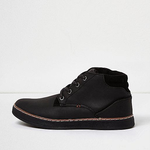 Boys black textured sneakers