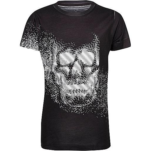 Boys black skull print t-shirt