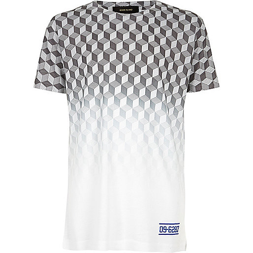 Boys white faded geometric print t-shirt