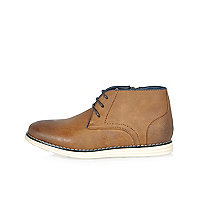 Boys brown wedge boots