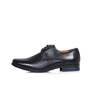 Boys black textured smart shoes