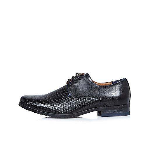 Boys black textured smart shoes