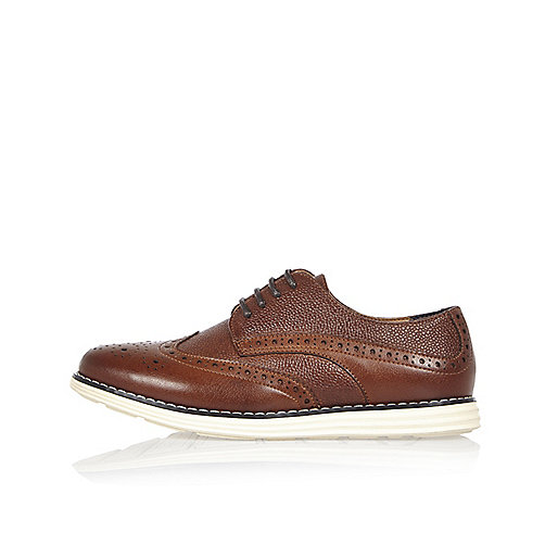 Boys brown wedge brogues