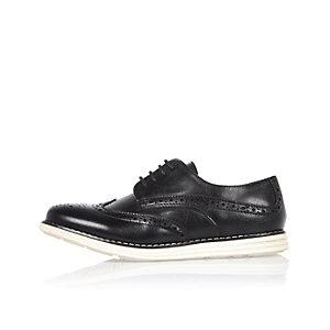 Chaussures richelieu noires à semelle compensée pour garçon