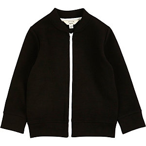 Mini boys black ribbed bomber jacket