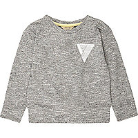 Mini boys grey pocket print sweatshirt