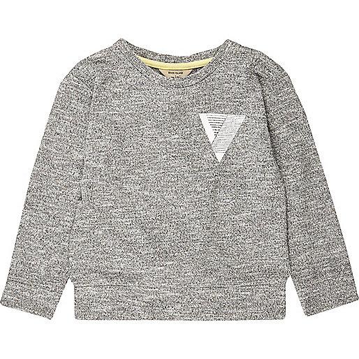 Grauer Pullover mit Taschenaufdruck