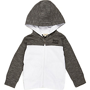 Mini boys grey color block hoodie