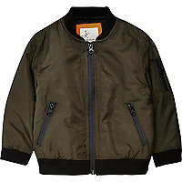 Mini boys khaki green padded bomber jacket