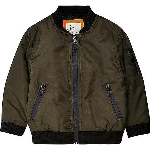 Mini boys khaki bomber jacket