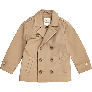 Mini boys brown double breasted mac coat