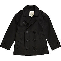 Mini boys black double breasted mac coat